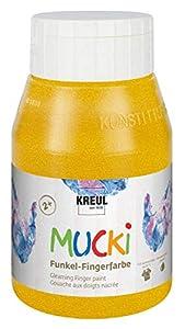 KREUL 23225 Mucki - Tinte para Dedos a Base de Agua, sin parabenos, sin Gluten, sin lactosa y Vegano, Lavable, se Puede Pintar con Pincel y Dedos, 500 ml, Color Dorado