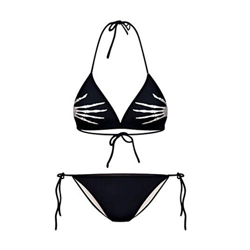 Lucky staryuan ® Prime Deals Frauen-Druck-Verband-Halter-Bikini-Set Bade Spa Bademode Anzug 04 schwarz gelb