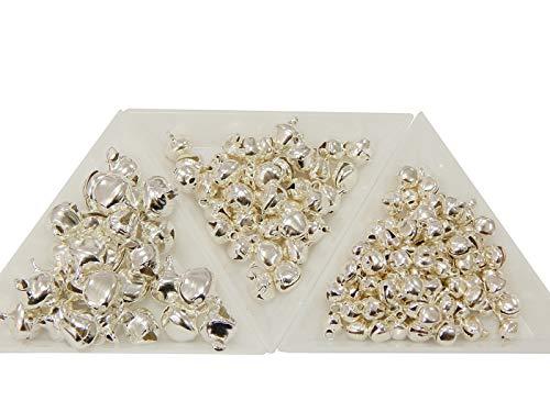 Perlin Lot de 750 Cloches en métal avec œillet Argenté 10 mm + 8 mm + 6 mm