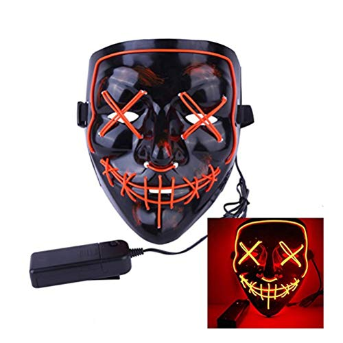 (QIH Halloween-Maske LED Light Purge Mask Für Festival Cosplay Halloween-Kostüm,Orange)