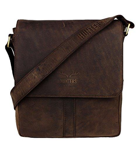 Schompi Vintage Herren/Unisex Umhängetasche aus Echtem Leder, Kompakt, Messenger Bag, Robust, Dunkelbraun -