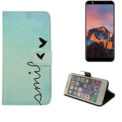 K-S-Trade® Für Leagoo M9 Hülle Wallet Case Schutzhülle Flip Cover Tasche Bookstyle Etui Handyhülle ''Smile'' Türkis Standfunktion Kameraschutz (1Stk)