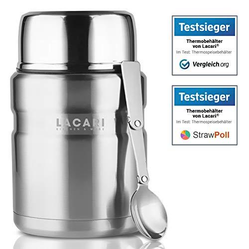 TESTSIEGER: SEHR GUT - Lacari ® [500ml] auslaufsicherer Thermobehälter in [Silber] für Essen und Flüssigkeiten - Warmhaltebox mit Löffel & Soßenfach - BPA Frei
