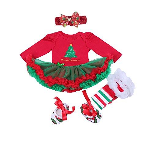BabyPreg® Neonate mio primo Natale costume della Santa del partito del vestito 4PCS (XL/12-18Mesi, Albero di Natale Maniche lunghe)