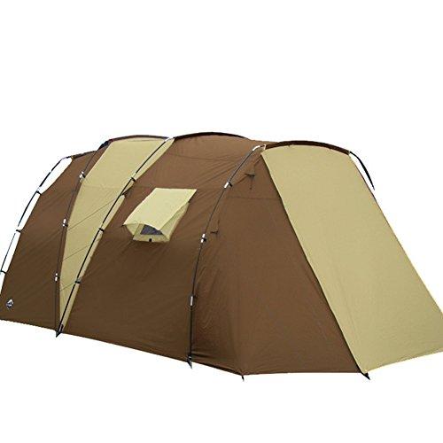 Mqhy 2 camera 1 hall 5-8 persone grandi tenda famiglia persona più grandi tenda outdoor travel tenda da campeggio anti pioggia caldo antivento doppio strato tenda brown kaki (270cm +220cm) * 280cm * 195cm