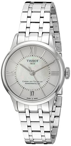 Tissot Mujer, 42mm Acero Pulsera y Caso Anti Reflectante Sapphire automático Mop Dial Reloj t0992071111800