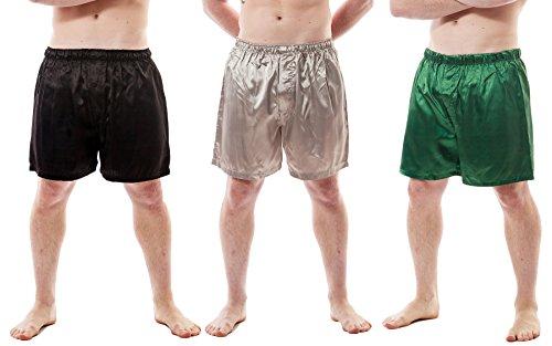 Up2date Fashion Herren Satin Boxershorts Combo Pack, 3er-Set, Style MSC01B - Mehrfarbig - 2X -