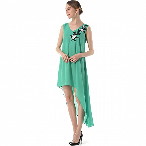 Pure Color V-Ausschnitt Ärmellosen Chiffon Kleid Sexy Kleid Posiert Leck Antiklinale Grün