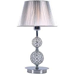 Lampara sobremesa habitación | Cromo, cristal y pantalla hilo Plata | Ideal para habitación o salón | Admite LED | Elegante, moderna, clásica, diseño | Excelente calidad