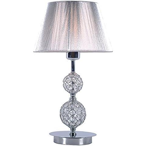 Lámpara sobremesa para salón o dormitorio, acabada en cromo, con bolas de cristal y pantalla de hilo