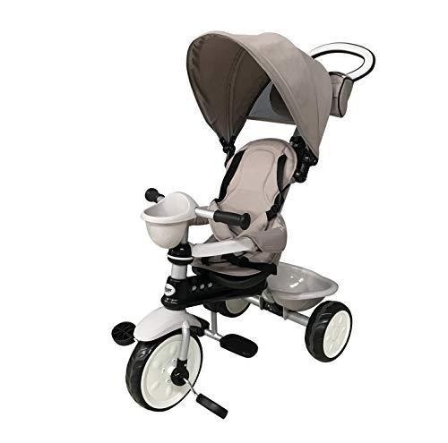 Mondial Toys Triciclo 4in1 con MANIGLIONE DIREZIONABILE E CAPPOTTINA Parasole 7811 Ivory