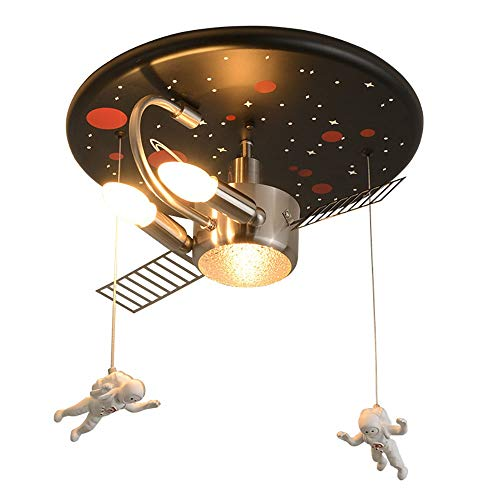 Baldachin Höhenverstellbare Leuchte (Moderne Deckenleuchte Astronaut Spaceman Kunststoff Metall Hängelampe - Kreatives Design Kinder Lampe Leuchte Pendelleuchte - Innendecke Dekorative Mädchen Junge Kinderzimmer Schlafzimmer Lampe - Schw)