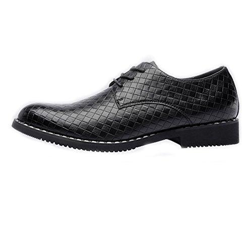 XHD-Chaussures Chaussures en Cuir PU de la Mode des Hommes de Texture carrée Upper Lace Up Oxford Respirant Bloc d'affaires Respirant