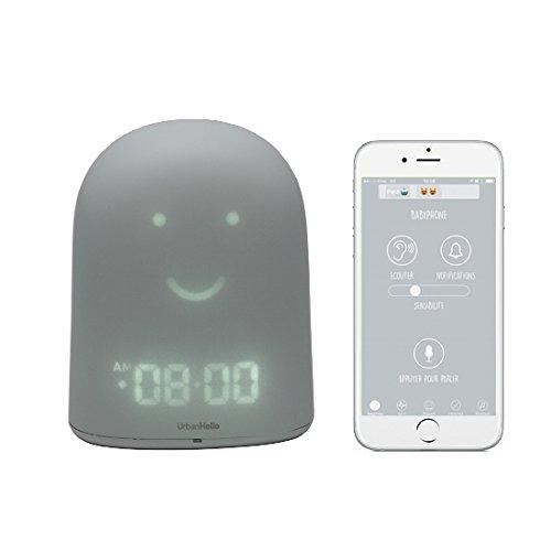 UrbanHello REMI – Réveil Jour Nuit éducatif et Suivi du sommeil - Babyphone audio avec alertes de bruit 5-en-1 - Veilleuse - Enceinte Bluetooth - en gris Nuage