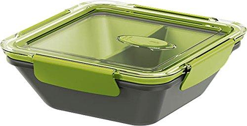 Emsa 513952 Lunchbox mit Deckel, 2 Einsätze, 0,9 Liter, Grün/Grau, Bento Box