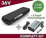 Set E-Bike Ersatzakku Power Pack 17 Ah 612 Wh 36V für Bosch Classic Gepäckträger + Ladegerät