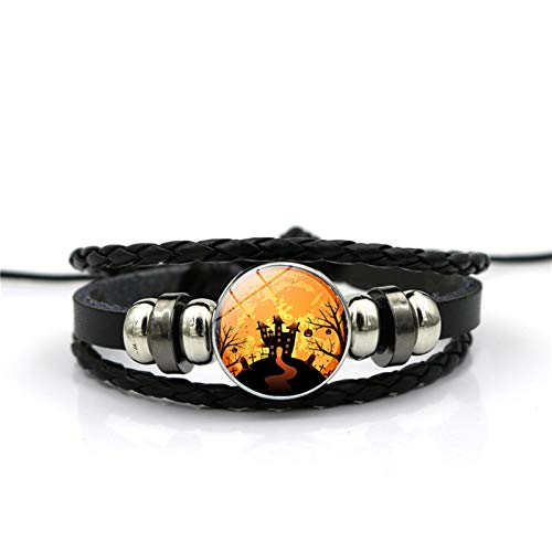Blisfille Halloween Bat Zeit Edelstein Armband Festival Armband Armband Herren Damen Geschenk