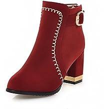 AllhqFashion Damen Blend-Materialien Schnüren Rund Zehe Mittler Absatz Rein Stiefel, Kamel Farbe, 34