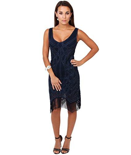 KRISP® Femmes Robe A Franges Glamour Vintage Bleu marine (6464)