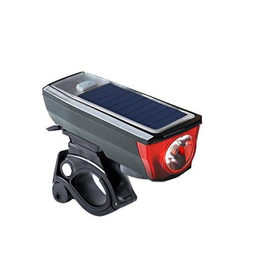 Rad Fahrradlampe Solar USB Doppelte Ladung Kopf Lampe Wasserdichte Taschenlampe Stirnlampe Reitzubehör Schwarz (Bell Helm Solar)