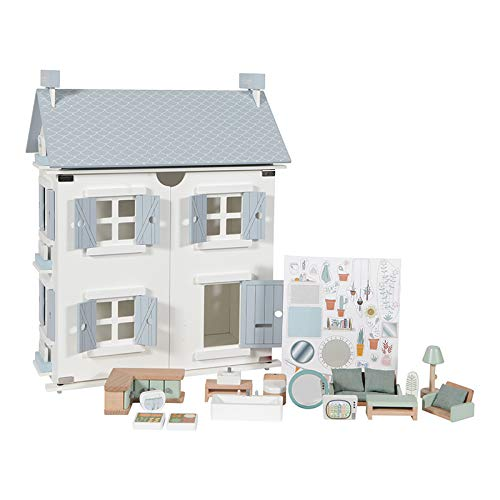 Tiamo Little Dutch 4466 Holz Puppenhaus weiß 20-teilig