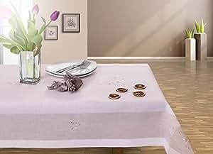 120x200 beige Tischdecke Tischtuch Blumenmuster Blumenmotiv Blume Blumen gestickt elegant praktisch pflegeleicht mit Borte Modern