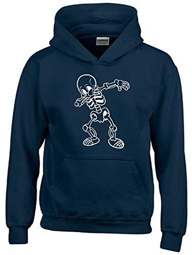 Dabbing Skelett 1C Hoodie Sweatshirt mit Kapuze Navy-Weiss Gr.128 cm (Skelett Pullover Für Jungen)