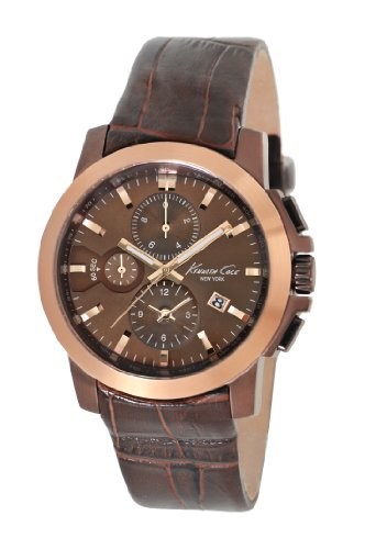 Kenneth Cole Men's Quartz Watch with Brown Dial Chronograph Display and Brown Leather Strap KC1884