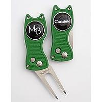 Pitchfix 1 Hybrid, aufklappbare Pitchgabel, grün/silberfarben mit 1 Golfball Marker VORNAMEN Initialen! Über 1500 Namen und Initailen Sofort Lieferbar!