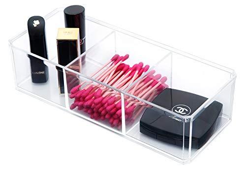 PuTwo Bac de Rangement de Salle de Bain en Acrylique pour Organiser Maquillage et Produits cosmétiques, Trois Compartiments