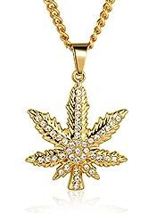 Idea Regalo - Halukakah Marijuana Uomo Maschile 18K 18 Carati Placcato Oro Reale Marijuana Pendente Collana con Catena Cubana Gratuita 30
