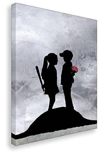 Leinwandbild von Banksy / Kunstbruder - Boy and Girl / Kunstdruck auf Leinwand / Wandbild Bild Graffiti Street-Art (60x80cm) (Leinwand Baseball)