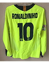 BROOK Ronaldinho 10 Barcelona Away Retro Longsleeve Soccer Jersey 2006 Full  UCL. Patch ( 78d155437c1