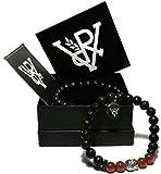 VOYAL Buddha Rot 2er Lavastein Armband Set (schwarz, rot, weiss)