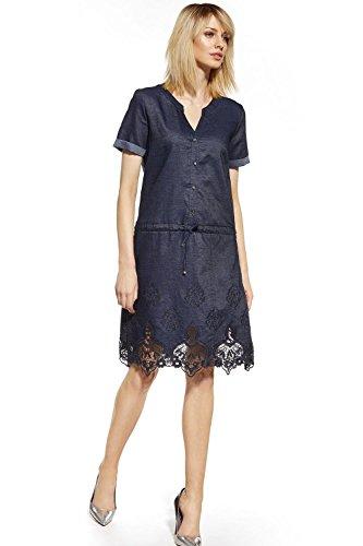 Ennywear 230073 Robe Feminine Élégante Top Qualité Manches Courtes Au Genou Souple- Fabriqué En UE Bleu Marine