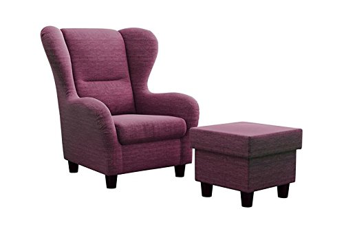 Furniture for Friends Ohrensessel Möbelfreude® Landhausstil mit Hocker Savana Cocktail-Sessel Wohnzimmer-Sessel Relax-Sessel Lila Plum Pflaume Struktur-Stoff Luxus Cocktail-Sessel (Plum)