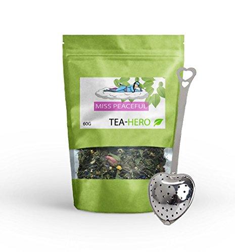 Schlaftee von teahero, Einschlaftee, Abendtee, Einschlaftee, mit zusätzlicher Teezange in Herzform, 100% natürlich, enthält u.a. Melisse, Johanniskraut, Baldrian, Lavendelblüten, vegan & zuckerfrei