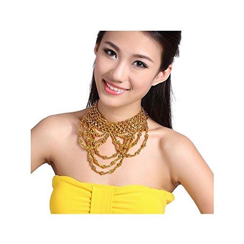 ribe Indian Dance Damen Perlen Halskette Bauchtanz Schmuck Gold / Silber (Kostüm Dramen Besten)