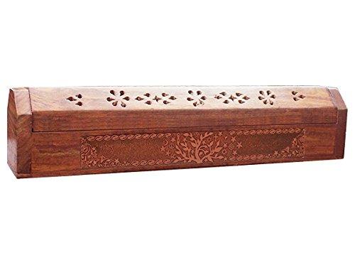 Support a encens et boite de rangement en bois grave 30x5,5cm Arbre de Vie