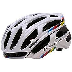Queshark casco de ciclismo de carretera en la montaña en el molde de casco de bicicleta Ultraligero casco de bicicleta con luces de advertencia LED (Blanco, L)