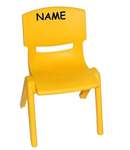 Kinderstuhl - GELB - bis 100 kg belastbar / stapelbar / kippsicher - incl. Namen - für INNEN & AUßEN - Plastik / Kunststoff - Kindermöbel für Mädchen & Jungen - Stuhl Stühle / Kinderzimmer / Plastikstuhl - Kinder - Gartenmöbel - Tischgruppe