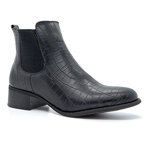 London Footwear ,  Damen Chelsea Boots Schwarz / Krokodilhaut
