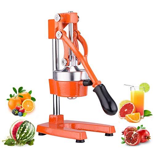 CO-Z Manuelle Hand Saftpresse Orangenpresse Zitronenpresse Obstpresse Fruchtpresse Limettenpresse Entsafter mit Hebel Juicer Machine Lemon Squeezer Einfach DIY Fruchtsaft Edelstahl (orange) - Funktioniert Granatapfel