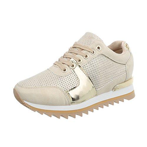 Ital-Design Sneakers Low Damen-Schuhe Keilabsatz/Wedge Schnürsenkel Freizeitschuhe Beige Gold, Gr 40, G-128-