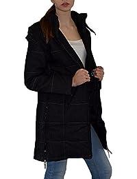 S&LU Damen Mantel mit zusätzlichen Reißverschlüssen und farblich abgesetzter Naht S - XL