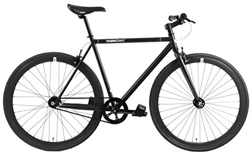 FabricBike-Bicicletta Fixie Nera, Single Speed, Fixie Bike, Telaio Hi-Ten di Acciaio, 10kg (Fully Matte Black, L-58)