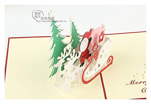 ZHOUBIN 2 fogli/set Carving And Hollowing Out 3D Cards/Greeting Cards/Regali di Natale Capodanno/Auguri di compleanno/Babbo Natale