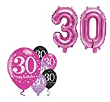 Feste Feiern Geburtstagsdeko Zum 30 Geburtstag | 8 Teile All In One Luftballon Set Pink Schwarz Violett metallic Party Deko Happy Birthday