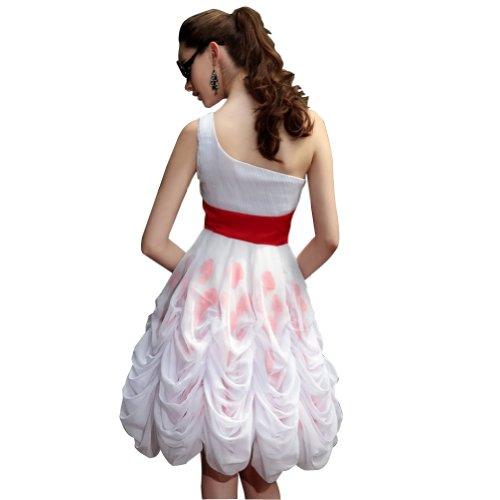 GEORGE BRIDE Ein Schultergurt Kurz Chiffon Abendkleid mit handgemachten Blumen Weiß