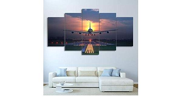 BAIOKAISHUII 5 St/ück Sonnenuntergang Lichter Flugzeug Rasen HD Leinwand Malerei Wandkunst Flugzeug Poster Home Decor Bilder f/ür Wohnzimmer-Rahmenlos